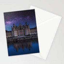 The castle of Chambord with the milky way, Castle of the Loire, France Stationery Cards