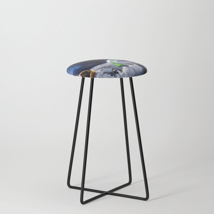 Astronaut on the Moon with beer Counter Stool