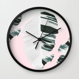 White Green Pastel Tropical Banana Leaves Design Wall Clock