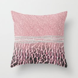 Chic Girly Pink Leopard animal print Glitter Image Throw Pillow