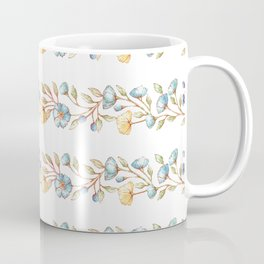 Yellow green blue hand painted modern floral stripes Coffee Mug