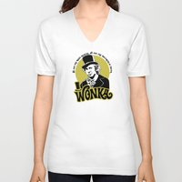 willy wonka V-neck T-shirts featuring Willy W quote by Buby87