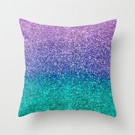 Lavender Purple & Teal Glitter Throw Pillow