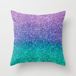 Lavender Purple & Teal Glitter Throw Pillow