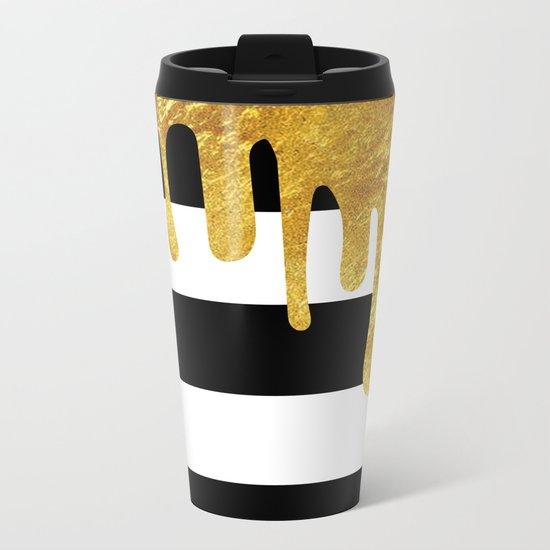 Gold Drips Metal Travel Mug