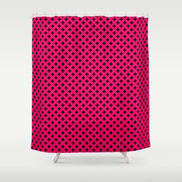 Small Black Crosses on Hot Neon Pink Shower Curtain