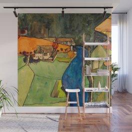 """Egon Schiele """"Stadt am blauen Fluss (Town on the blue river)"""" Wall Mural"""