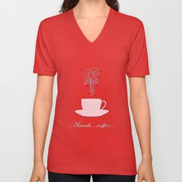 Aaah...coffee...  Retro / Vintage Coffee Print Fresh Shell on Cocoa Bean Background Unisex V-Neck