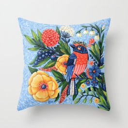Coral Songbird and Flowers Acrylic Painting Throw Pillow