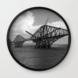 Forth Bridge Scotland Black & White Wall Clock