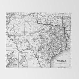 Vintage Map of Texas (1856) BW Throw Blanket