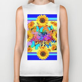 Blue Design Sunflower Butterflies Dream Biker Tank