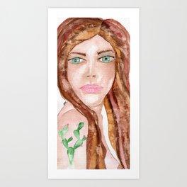 Cactus woman Art Print