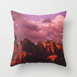 Rose Colored Landscape Throw Pillow
