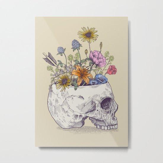 Half Skull Flowers Metal Print