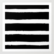 Black & White Paint Stripes by Friztin Art Print