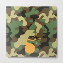 CAMO & ORANGE BOMB DIGGITY Metal Print