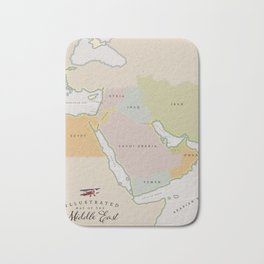 Illustrated map of the Middle East Bath Mat