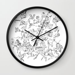 Black jook doodles Wall Clock