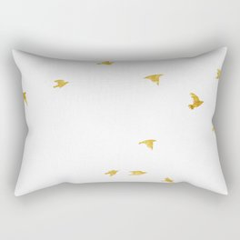 Raven Birds in Gold Copper Bronze Rectangular Pillow