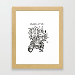 Vespa, Scooter With Flowers Framed Art Print