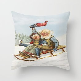 Vintage Christmas : Older Couple Wintry Fun 1890 Throw Pillow