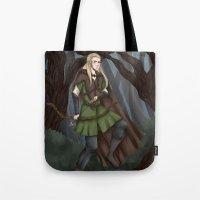 legolas Tote Bags featuring Legolas of Mirkwood by Kimberlyn Curtis Artistry