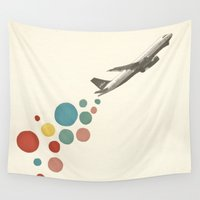 plane Wall Tapestries featuring Leaving on a Jet Plane by Cassia Beck