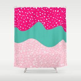 Modern neon pink turquoise blush ice cream color block geometric hand drawn pattern Shower Curtain