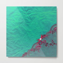 Claire´s treasure I - Pink lace,ribbon and pearl on aqua backround Metal Print