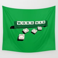 war Wall Tapestries featuring Word War! by Badamg