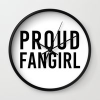 fangirl Wall Clocks featuring FANGIRL by The Fandom Designs