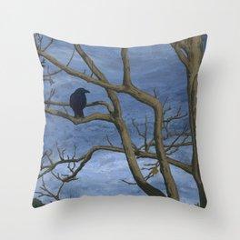 Crow Tree Throw Pillow