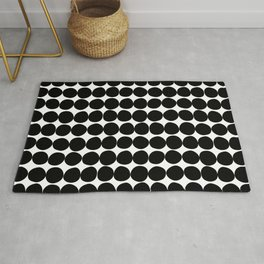 Midcentury Modern Dots Black and White Rug