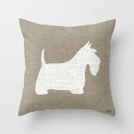 White Scottish Terrier Silhouette Throw Pillow