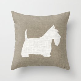 White Scottish Terrier Silhouette Throw Pillow
