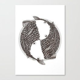 Pisces - Fish Koi - Japanese Tattoo Style (black and white) Canvas Print