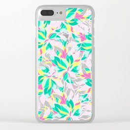 Modern pink turquoise yellow floral illustration spring summer hand drawn pattern Clear iPhone Case