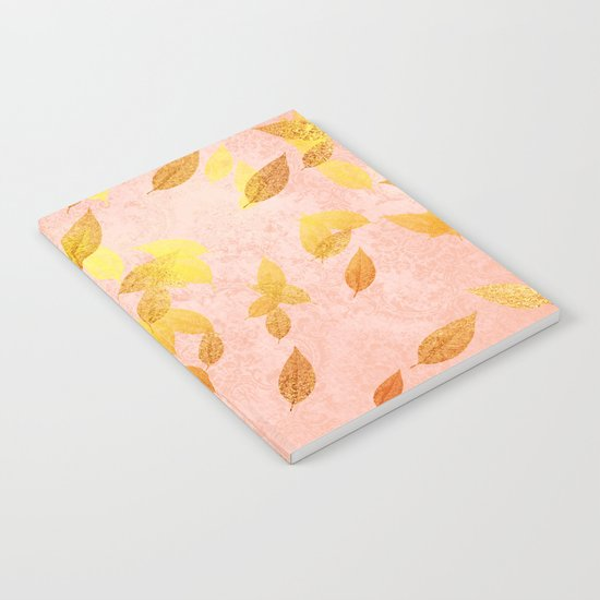 Autumn-world 2 - gold glitter leaves on pink backround Notebook