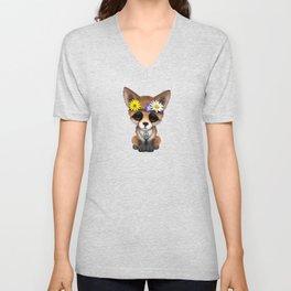 Cute Baby Fox Hippie Unisex V-Neck