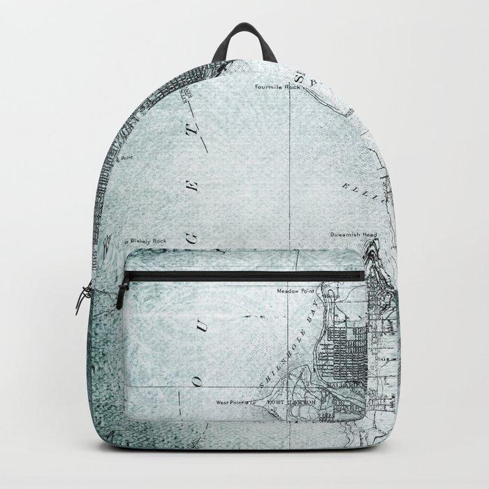 Vintage Seattle City Map Backpack