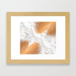 Copper Palm Leaves on Marble Framed Art Print