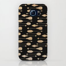 Chic elegant black faux gold glitter arrows feathers pattern Slim Case Galaxy S7