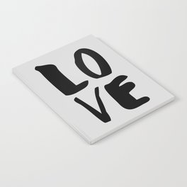 Monochrome LOVE black-white hand lettered ink typography poster design home decor wall art Notebook