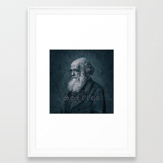 Species / Vintage portrait of Charles Darwin Framed Art Print by ...