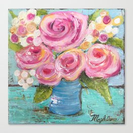 Shabby Chic Pink Rose Farmhouse Flowers Canvas Print
