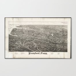 Vintage Pictorial Map of Stamford CT (1883) Canvas Print