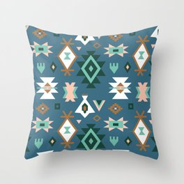 Southwest Kilim in Teal Throw Pillow