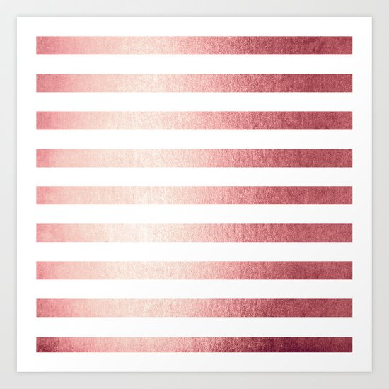 Simply Striped Rose Gold Twilight Art Print