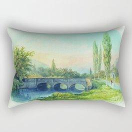 Sevastopol Aqueduct In The Gully Ushakovskaya 1850 By Lev Lagorio | Reproduction | Russian Romantici Rectangular Pillow